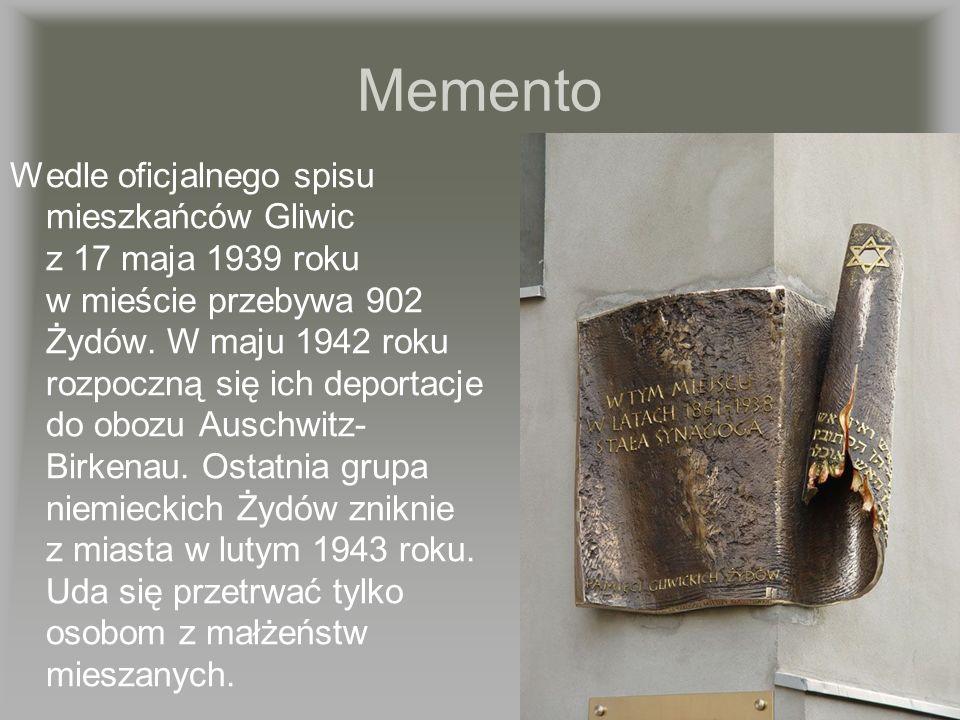 Memento Wedle oficjalnego spisu mieszkańców Gliwic z 17 maja 1939 roku w mieście przebywa 902 Żydów. W maju 1942 roku rozpoczną się ich deportacje do