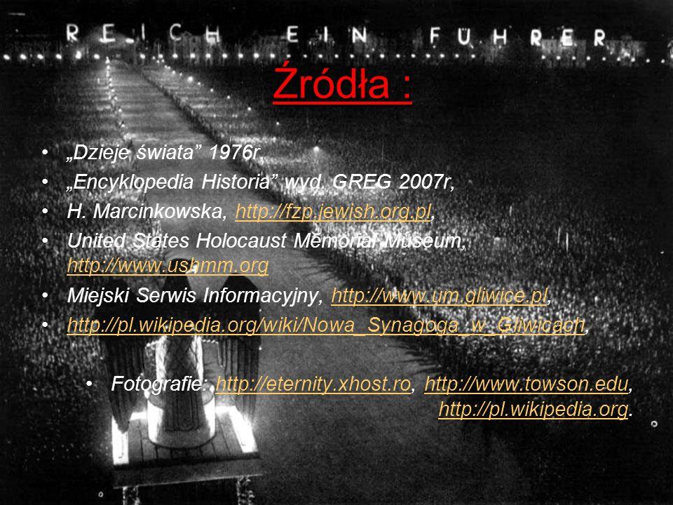 Źródła : Dzieje świata 1976r, Encyklopedia Historia wyd. GREG 2007r, H. Marcinkowska, http://fzp.jewish.org.pl,http://fzp.jewish.org.pl United States