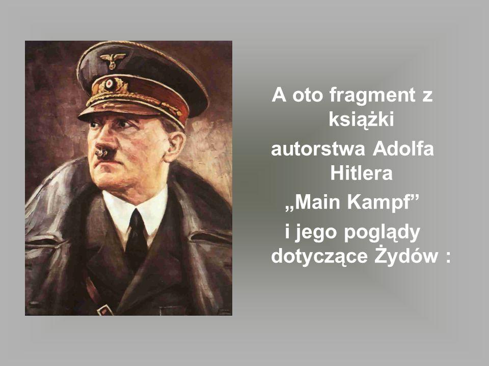 A oto fragment z książki autorstwa Adolfa Hitlera Main Kampf i jego poglądy dotyczące Żydów :