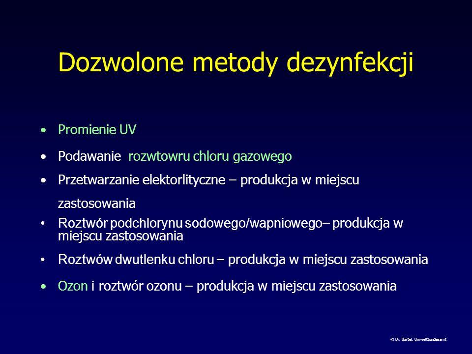 Dozwolone środki dezynfekcji Chlor gazowy Roztwór podchlorynu sodowego/wapniowego Dwutlenek choru Ozon Promienie UV Pastylki zawierające chloroizocyja