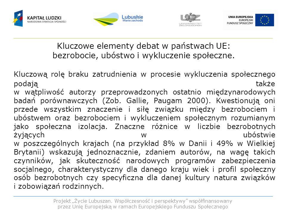 Kluczowe elementy debat w państwach UE: bezrobocie, ubóstwo i wykluczenie społeczne. Kluczową rolę braku zatrudnienia w procesie wykluczenia społeczne