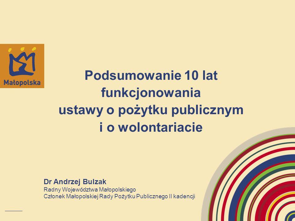 Podsumowanie 10 lat funkcjonowania ustawy o pożytku publicznym i o wolontariacie Dr Andrzej Bulzak Radny Województwa Małopolskiego Członek Małopolskie