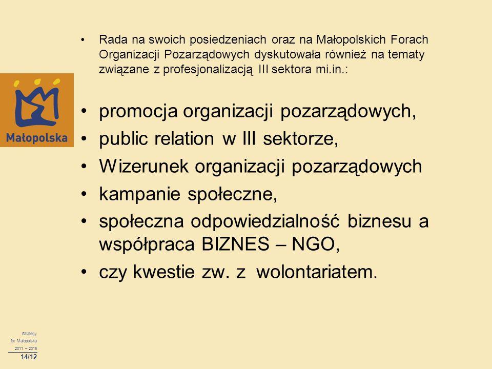 Rada na swoich posiedzeniach oraz na Małopolskich Forach Organizacji Pozarządowych dyskutowała również na tematy związane z profesjonalizacją III sekt