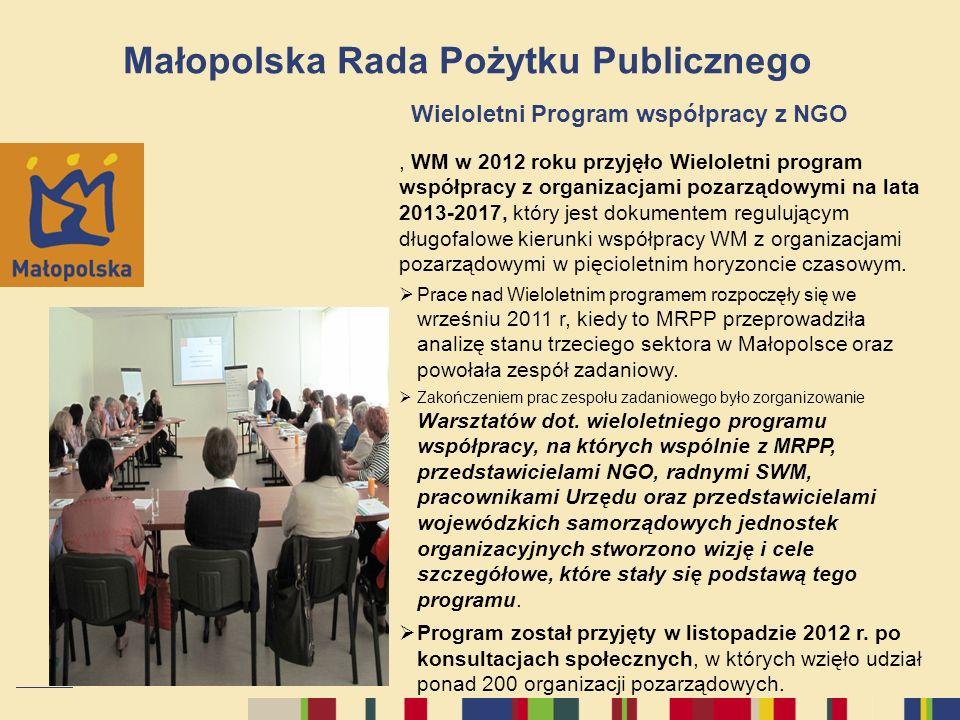 Małopolska Rada Pożytku Publicznego Wieloletni Program współpracy z NGO, WM w 2012 roku przyjęło Wieloletni program współpracy z organizacjami pozarzą
