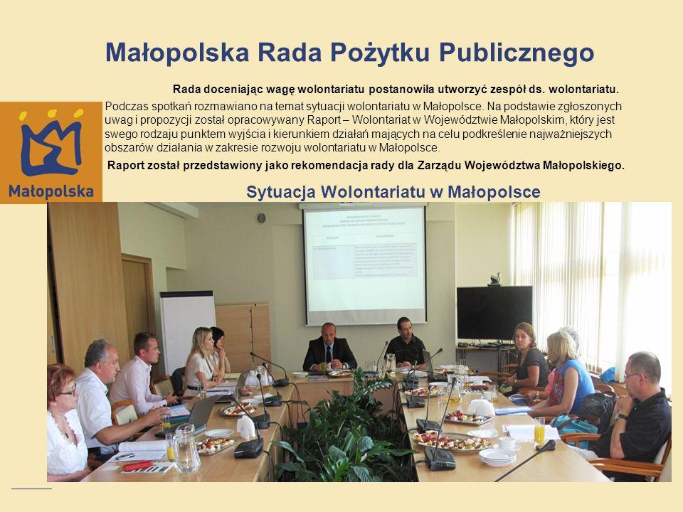 Małopolska Rada Pożytku Publicznego Rada doceniając wagę wolontariatu postanowiła utworzyć zespół ds. wolontariatu. Podczas spotkań rozmawiano na tema