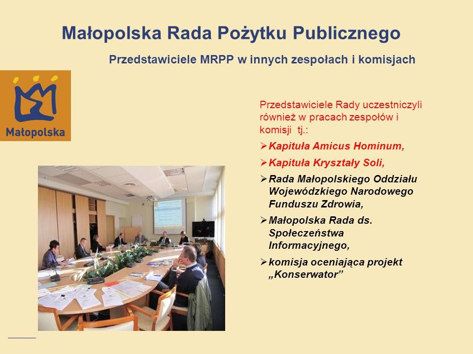 Małopolska Rada Pożytku Publicznego Przedstawiciele MRPP w innych zespołach i komisjach Przedstawiciele Rady uczestniczyli również w pracach zespołów