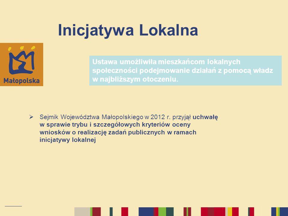 Inicjatywa Lokalna Sejmik Województwa Małopolskiego w 2012 r. przyjął uchwałę w sprawie trybu i szczegółowych kryteriów oceny wniosków o realizację za