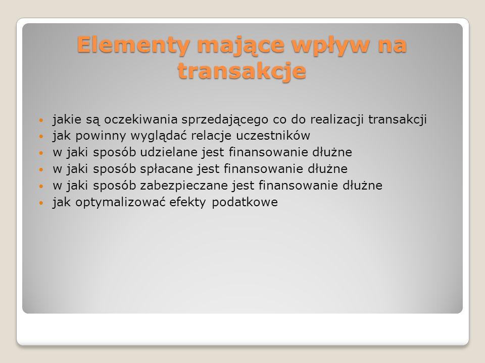 Elementy mające wpływ na transakcje jakie są oczekiwania sprzedającego co do realizacji transakcji jak powinny wyglądać relacje uczestników w jaki spo