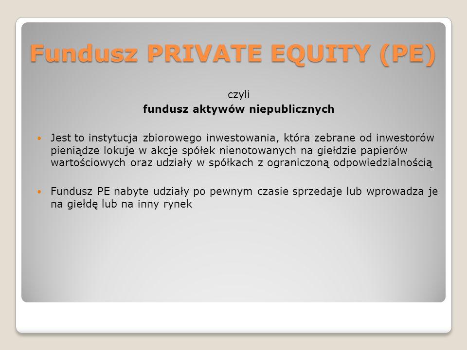 Fundusz PRIVATE EQUITY (PE) czyli fundusz aktywów niepublicznych Jest to instytucja zbiorowego inwestowania, która zebrane od inwestorów pieniądze lok