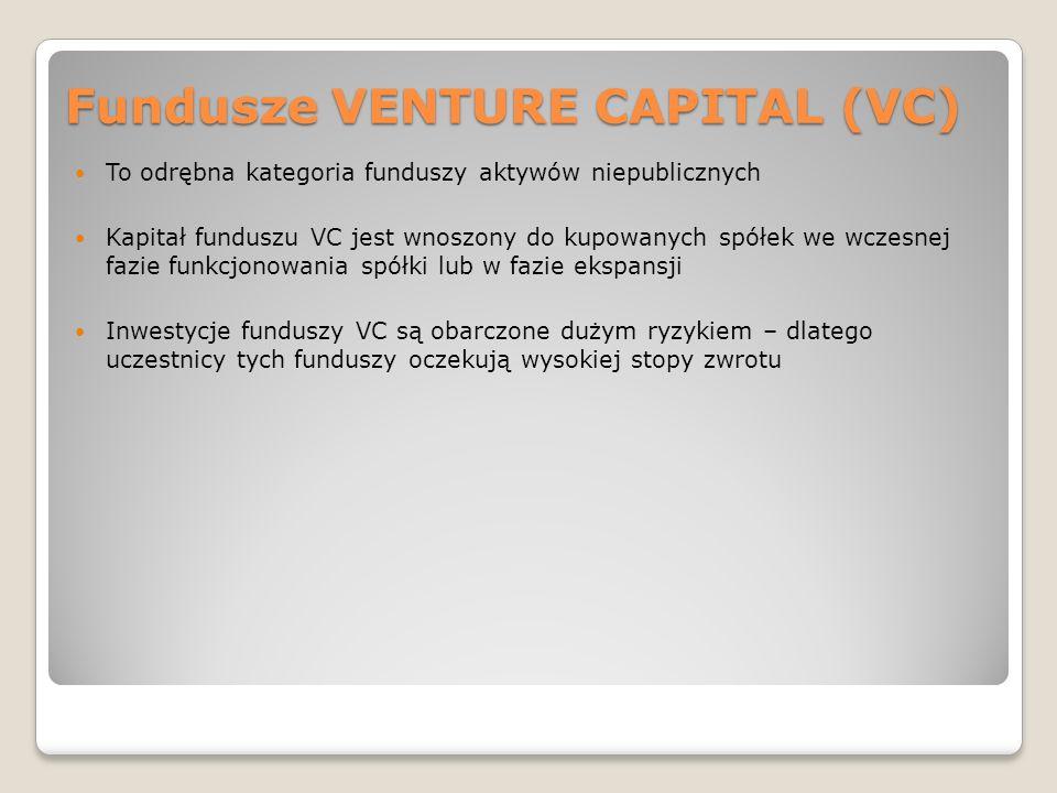 Fundusze VENTURE CAPITAL (VC) To odrębna kategoria funduszy aktywów niepublicznych Kapitał funduszu VC jest wnoszony do kupowanych spółek we wczesnej