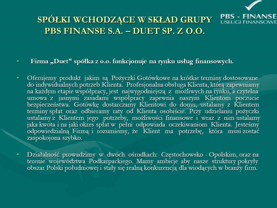 SPÓŁKI WCHODZĄCE W SKŁAD GRUPY PBS FINANSE S.A. – DUET SP. Z O.O. Firma Duet
