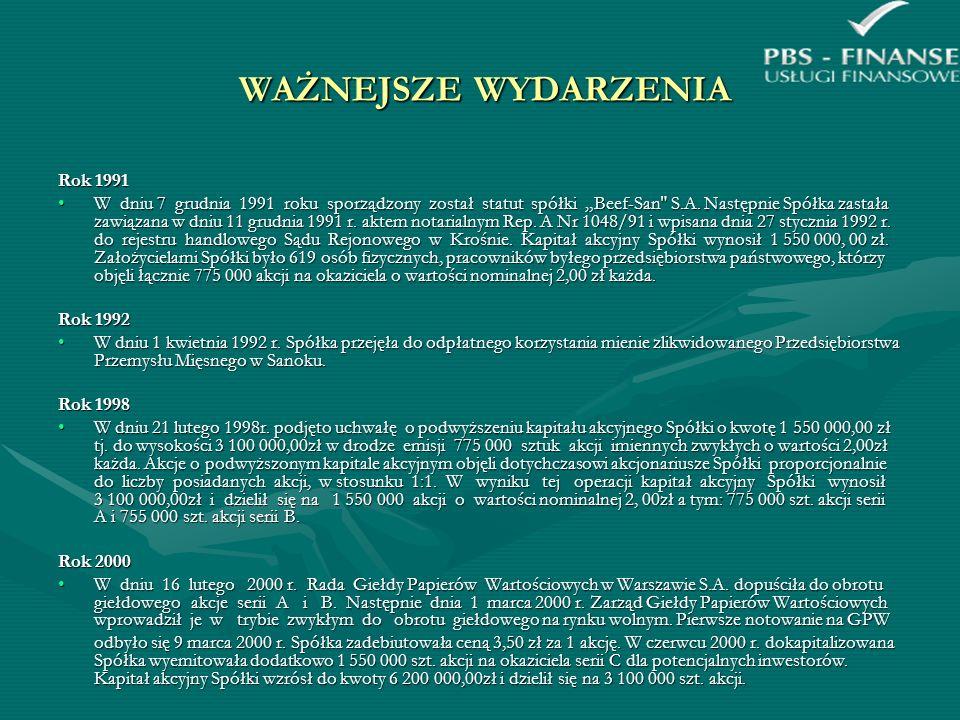 WAŻNIEJSZE WYDARZENIA - CD WAŻNIEJSZE WYDARZENIA - CD Rok 2002 W roku tym został wprowadzony program naprawczy.