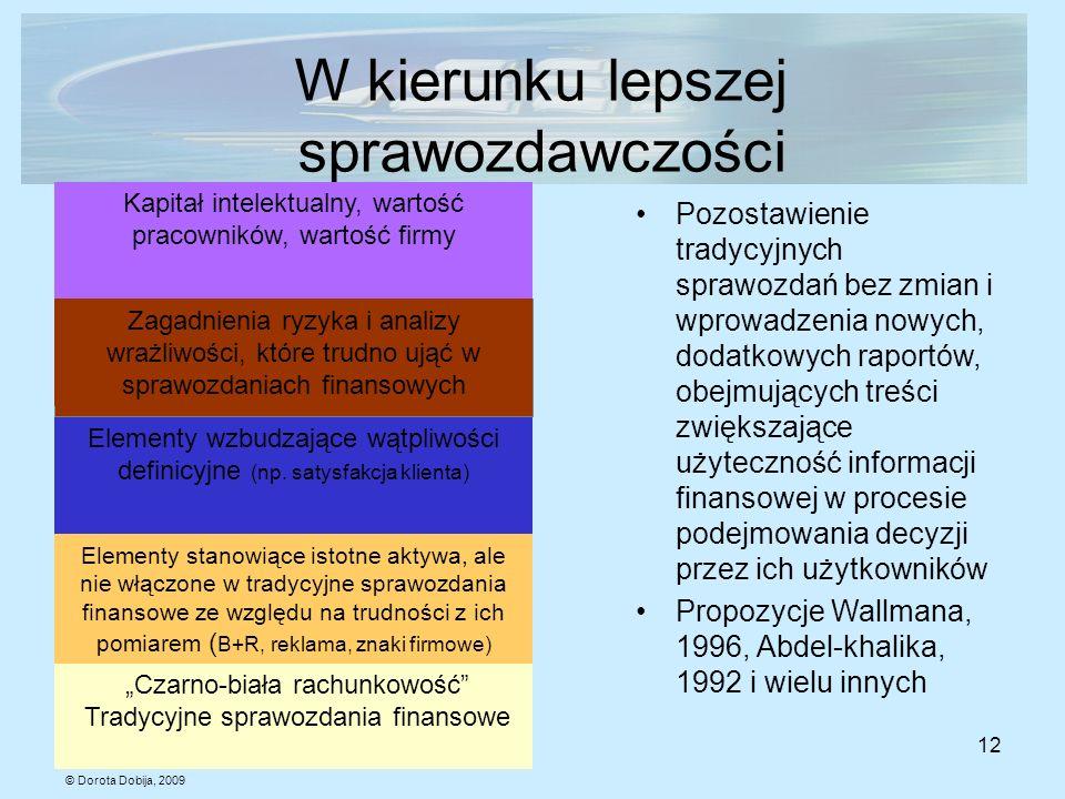 © Dorota Dobija, 2009 12 W kierunku lepszej sprawozdawczości Czarno-biała rachunkowość Tradycyjne sprawozdania finansowe Elementy stanowiące istotne a