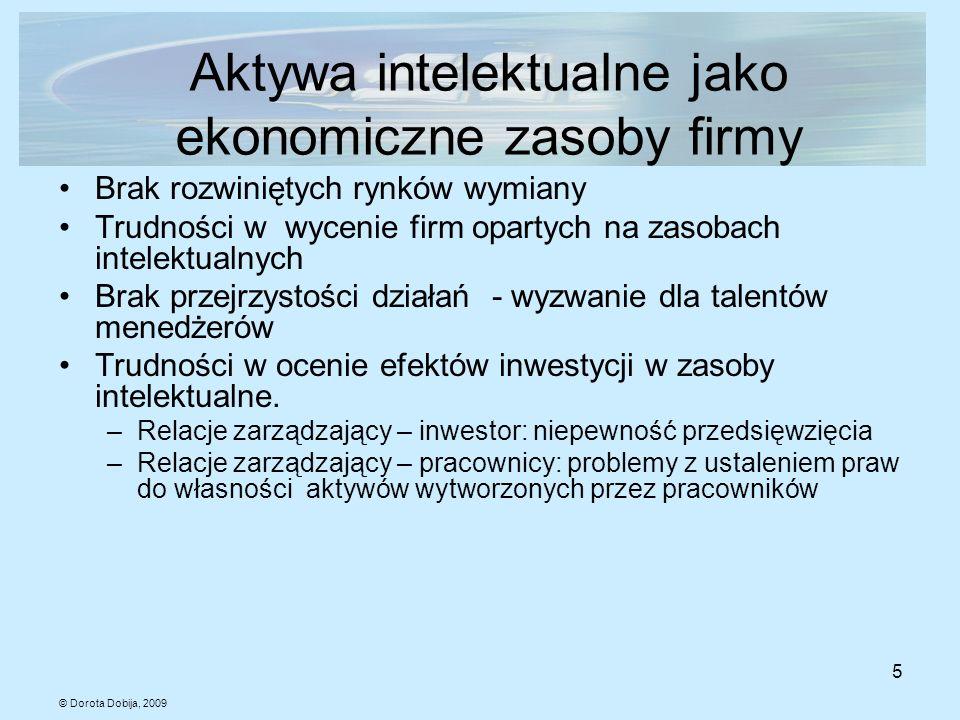 © Dorota Dobija, 2009 5 Aktywa intelektualne jako ekonomiczne zasoby firmy Brak rozwiniętych rynków wymiany Trudności w wycenie firm opartych na zasob