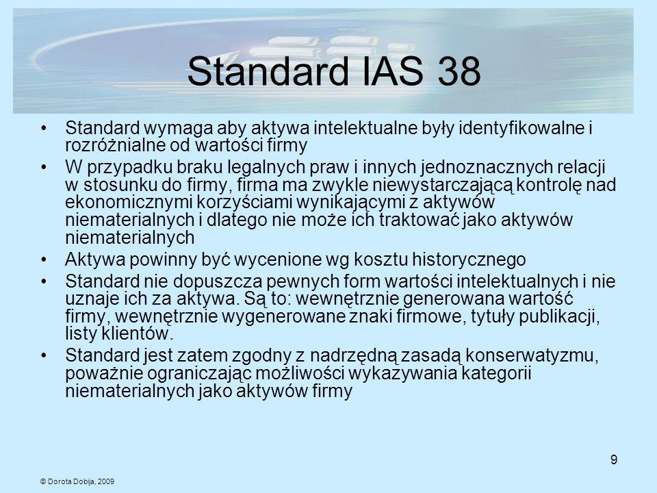 © Dorota Dobija, 2009 9 Standard IAS 38 Standard wymaga aby aktywa intelektualne były identyfikowalne i rozróżnialne od wartości firmy W przypadku bra