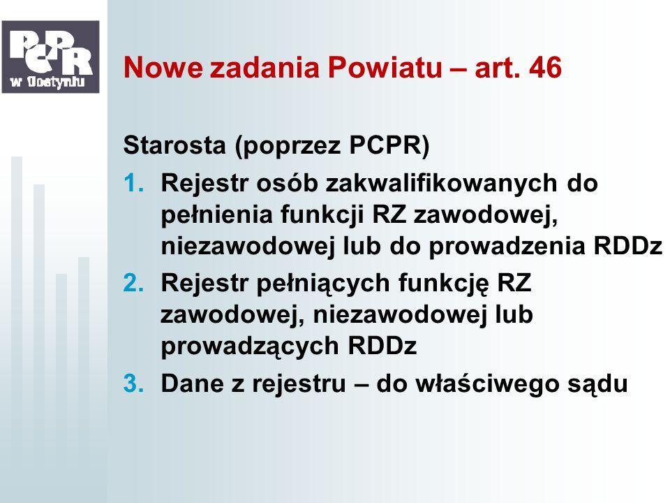 Nowe zadania Powiatu – art. 46 Starosta (poprzez PCPR) 1.Rejestr osób zakwalifikowanych do pełnienia funkcji RZ zawodowej, niezawodowej lub do prowadz