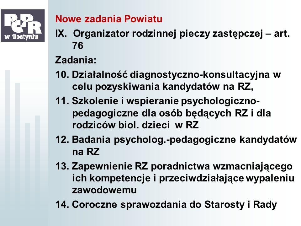 Nowe zadania Powiatu IX. Organizator rodzinnej pieczy zastępczej – art. 76 Zadania: 10. Działalność diagnostyczno-konsultacyjna w celu pozyskiwania ka