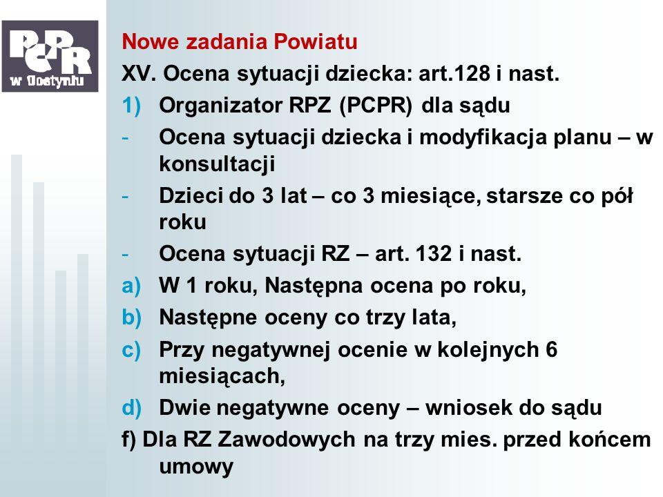 Nowe zadania Powiatu XV. Ocena sytuacji dziecka: art.128 i nast. 1)Organizator RPZ (PCPR) dla sądu -Ocena sytuacji dziecka i modyfikacja planu – w kon
