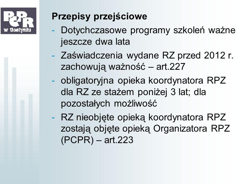 Przepisy przejściowe -Dotychczasowe programy szkoleń ważne jeszcze dwa lata -Zaświadczenia wydane RZ przed 2012 r. zachowują ważność – art.227 -obliga