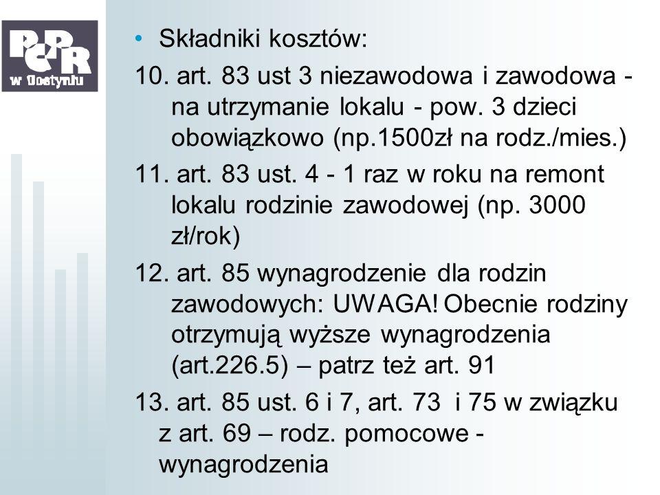 Składniki kosztów: 10. art. 83 ust 3 niezawodowa i zawodowa - na utrzymanie lokalu - pow. 3 dzieci obowiązkowo (np.1500zł na rodz./mies.) 11. art. 83