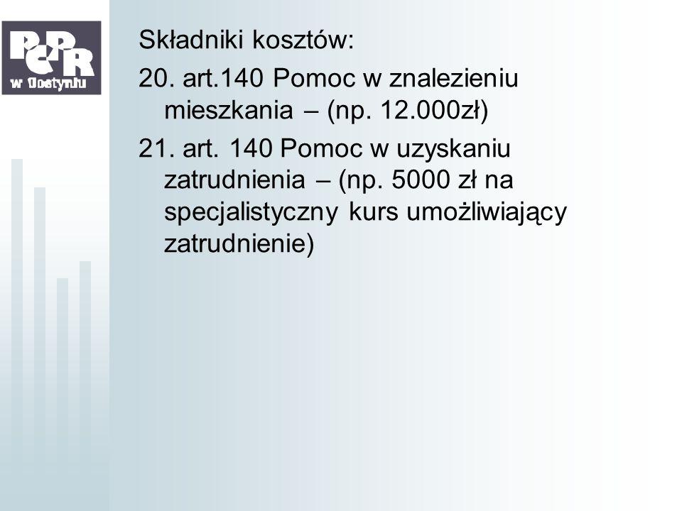 Składniki kosztów: 20. art.140 Pomoc w znalezieniu mieszkania – (np. 12.000zł) 21. art. 140 Pomoc w uzyskaniu zatrudnienia – (np. 5000 zł na specjalis