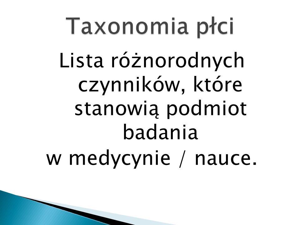 Lista różnorodnych czynników, które stanowią podmiot badania w medycynie / nauce.