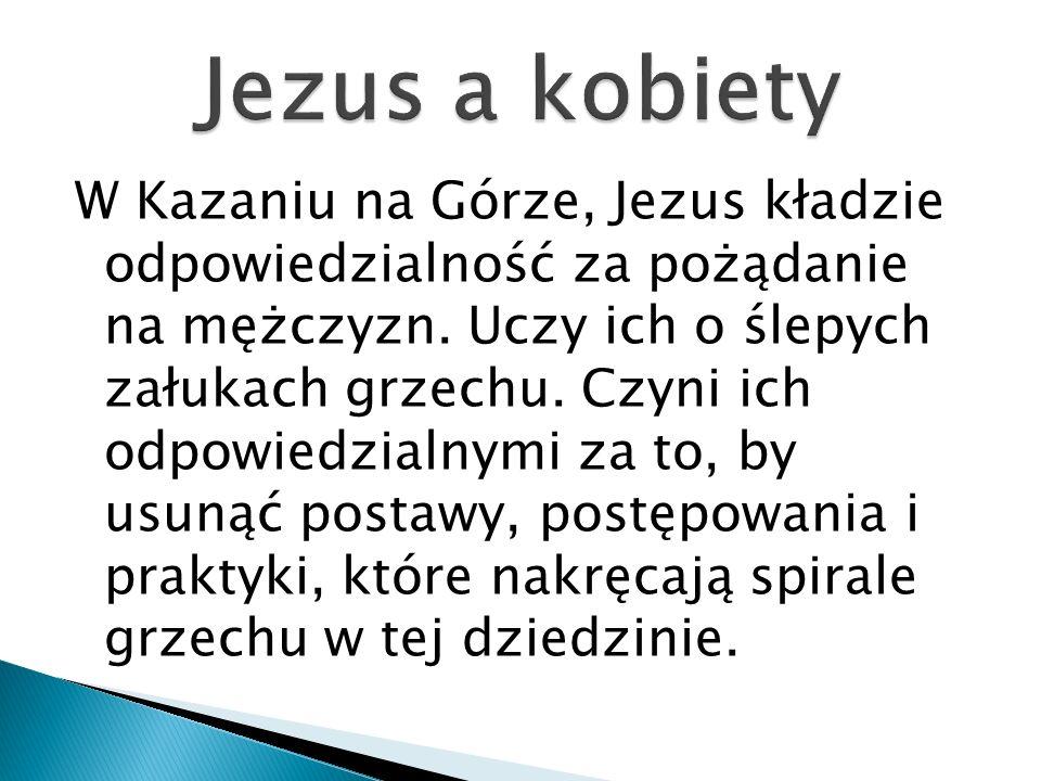 W Kazaniu na Górze, Jezus kładzie odpowiedzialność za pożądanie na mężczyzn. Uczy ich o ślepych załukach grzechu. Czyni ich odpowiedzialnymi za to, by