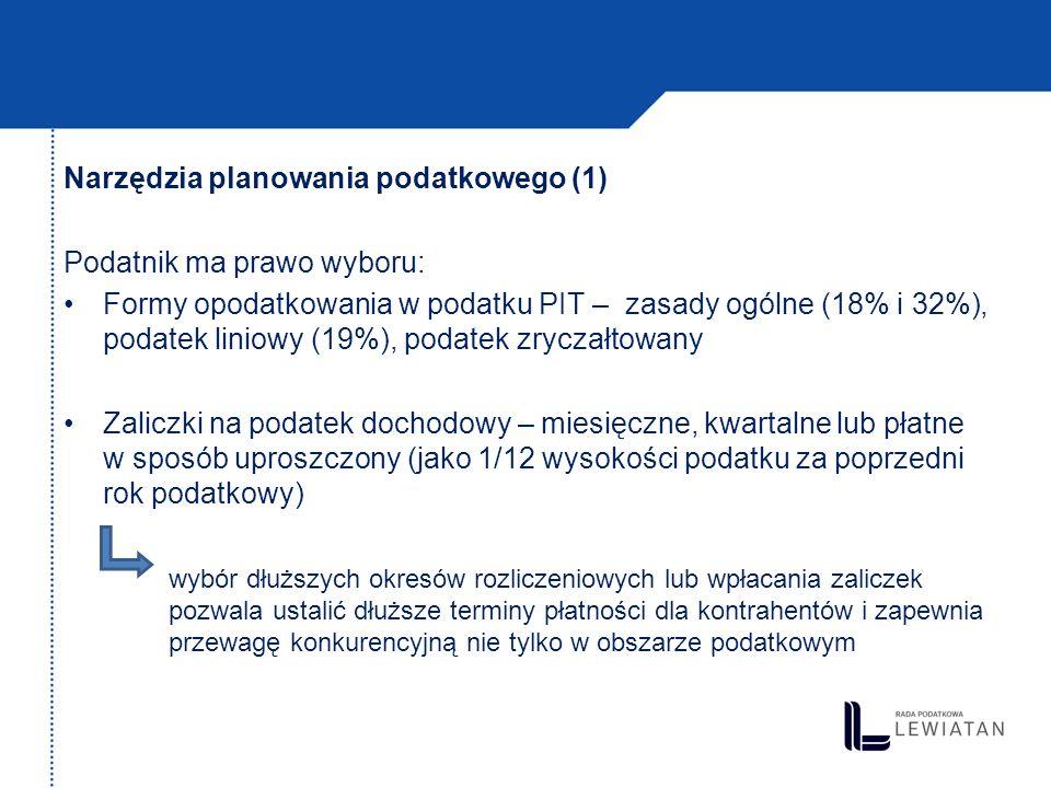 Narzędzia planowania podatkowego (1) Podatnik ma prawo wyboru: Formy opodatkowania w podatku PIT – zasady ogólne (18% i 32%), podatek liniowy (19%), p
