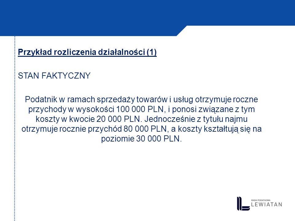 Przykład rozliczenia działalności (1) STAN FAKTYCZNY Podatnik w ramach sprzedaży towarów i usług otrzymuje roczne przychody w wysokości 100 000 PLN, i