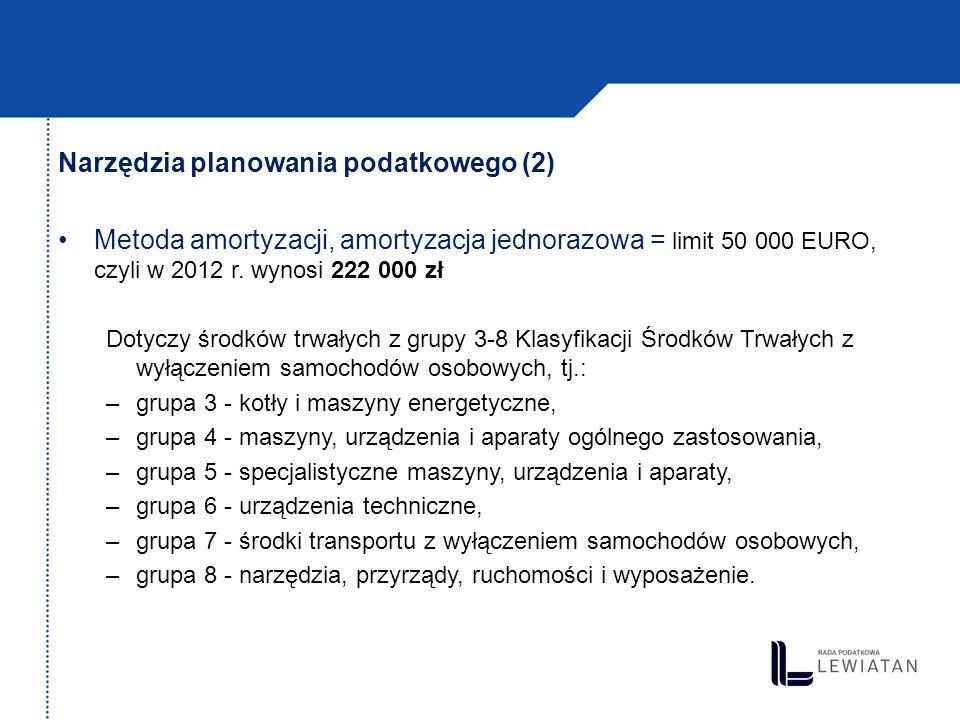 Narzędzia planowania podatkowego (2) Metoda amortyzacji, amortyzacja jednorazowa = limit 50 000 EURO, czyli w 2012 r. wynosi 222 000 zł Dotyczy środkó