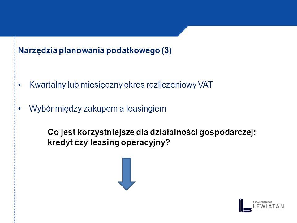 Narzędzia planowania podatkowego (3) Kwartalny lub miesięczny okres rozliczeniowy VAT Wybór między zakupem a leasingiem Co jest korzystniejsze dla dzi