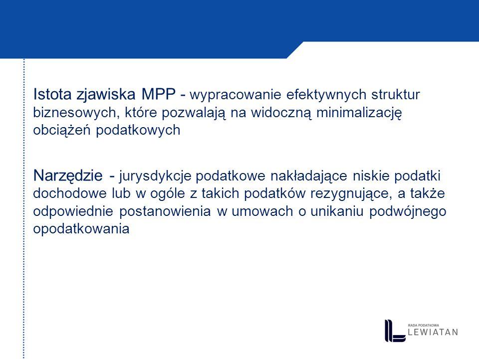 Istota zjawiska MPP - wypracowanie efektywnych struktur biznesowych, które pozwalają na widoczną minimalizację obciążeń podatkowych Narzędzie - jurysd