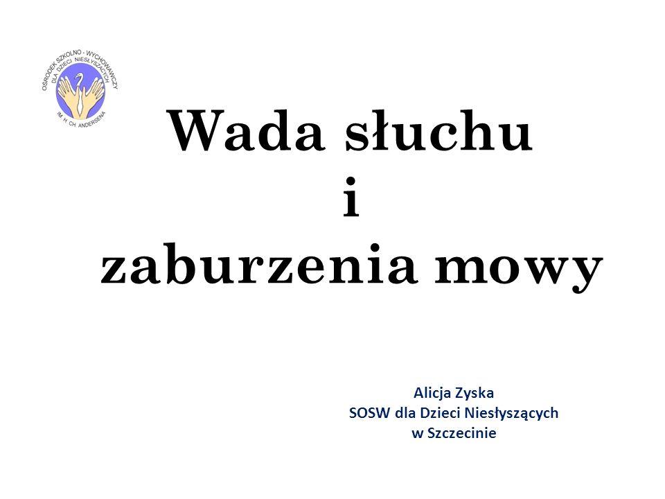 Wada słuchu i zaburzenia mowy Alicja Zyska SOSW dla Dzieci Niesłyszących w Szczecinie