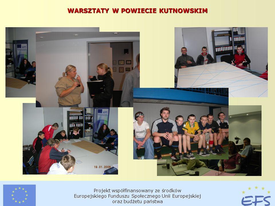 Projekt współfinansowany ze środków Europejskiego Funduszu Społecznego Unii Europejskiej oraz budżetu państwa WARSZTATY W POWIECIE KUTNOWSKIM