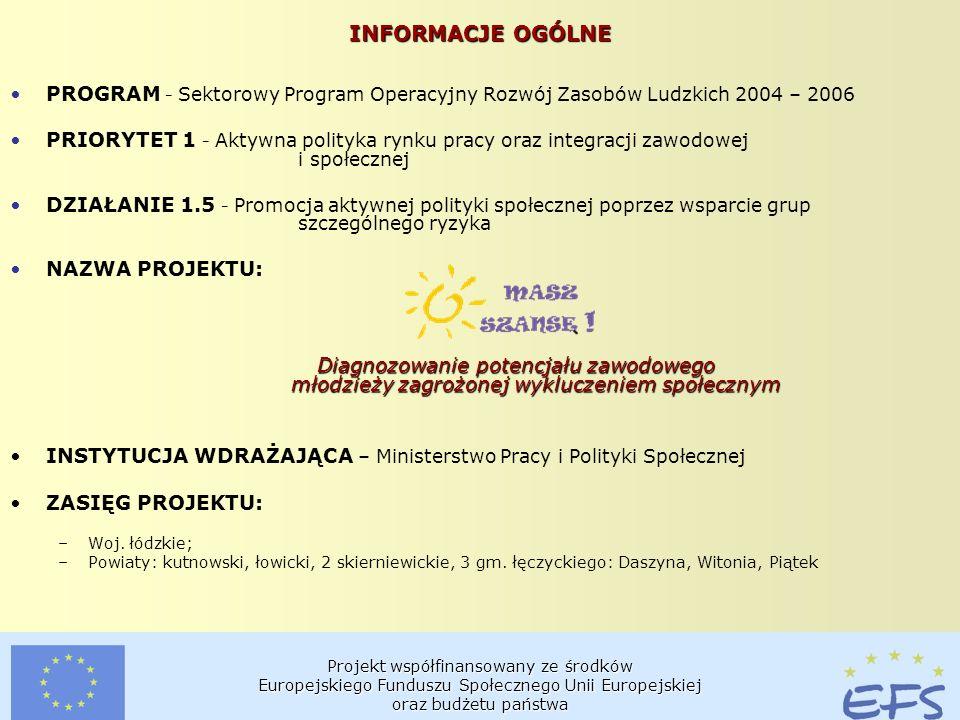 Projekt współfinansowany ze środków Europejskiego Funduszu Społecznego Unii Europejskiej oraz budżetu państwa INFORMACJE OGÓLNE PROGRAM - Sektorowy Program Operacyjny Rozwój Zasobów Ludzkich 2004 – 2006 PRIORYTET 1 - Aktywna polityka rynku pracy oraz integracji zawodowej i społecznej DZIAŁANIE 1.5 - Promocja aktywnej polityki społecznej poprzez wsparcie grup szczególnego ryzyka NAZWA PROJEKTU: Diagnozowanie potencjału zawodowego młodzieży zagrożonej wykluczeniem społecznym INSTYTUCJA WDRAŻAJĄCA – Ministerstwo Pracy i Polityki Społecznej ZASIĘG PROJEKTU: –Woj.