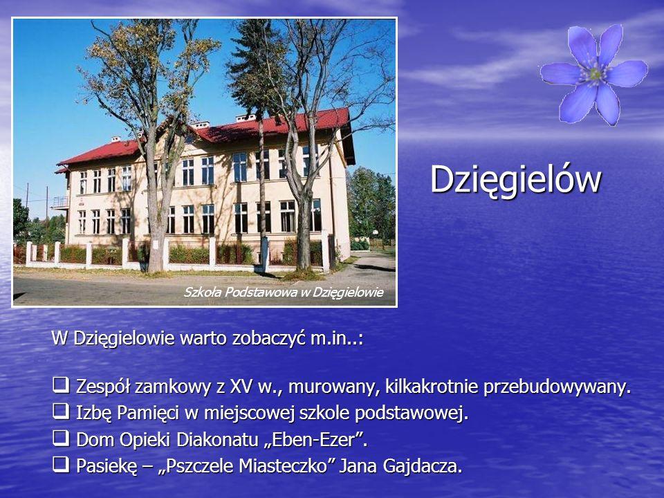 Dzięgielów W Dzięgielowie warto zobaczyć m.in..: Zespół zamkowy z XV w., murowany, kilkakrotnie przebudowywany. Zespół zamkowy z XV w., murowany, kilk