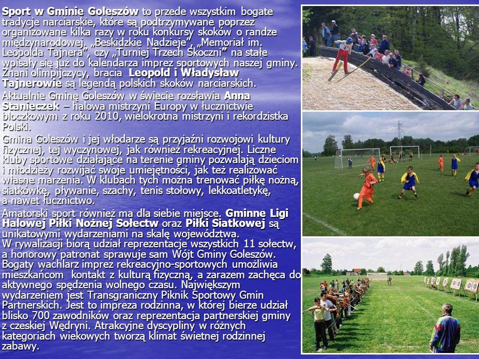 Sport w Gminie Goleszów to przede wszystkim bogate tradycje narciarskie, które są podtrzymywane poprzez organizowane kilka razy w roku konkursy skoków