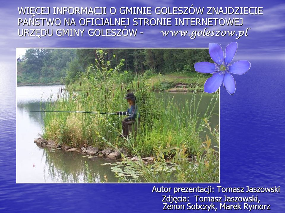 WIĘCEJ INFORMACJI O GMINIE GOLESZÓW ZNAJDZIECIE PAŃSTWO NA OFICJALNEJ STRONIE INTERNETOWEJ URZĘDU GMINY GOLESZÓW - www.goleszow.pl Autor prezentacji: