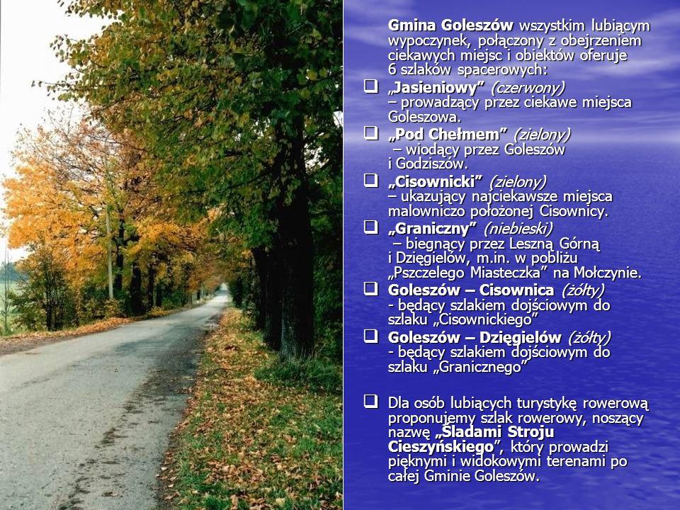Gmina Goleszów wszystkim lubiącym wypoczynek, połączony z obejrzeniem ciekawych miejsc i obiektów oferuje 6 szlaków spacerowych: Jasieniowy (czerwony)