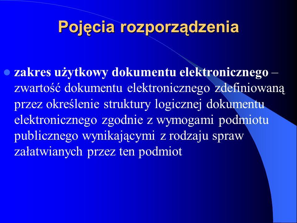 Pojęcia rozporządzenia zakres użytkowy dokumentu elektronicznego – zwartość dokumentu elektronicznego zdefiniowaną przez określenie struktury logiczne