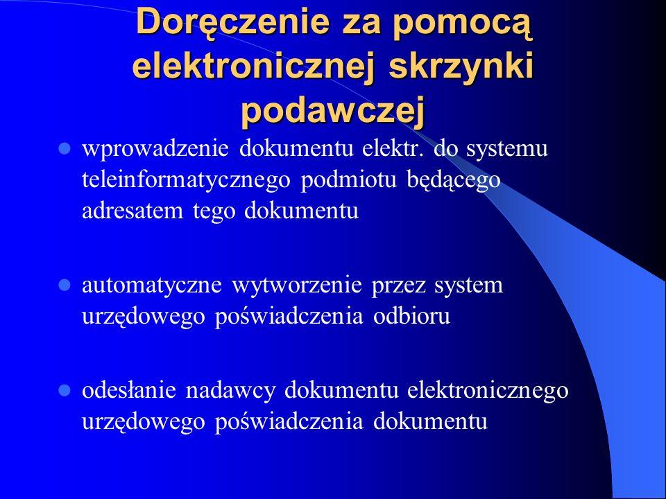 Doręczenie za pomocą elektronicznej skrzynki podawczej wprowadzenie dokumentu elektr. do systemu teleinformatycznego podmiotu będącego adresatem tego