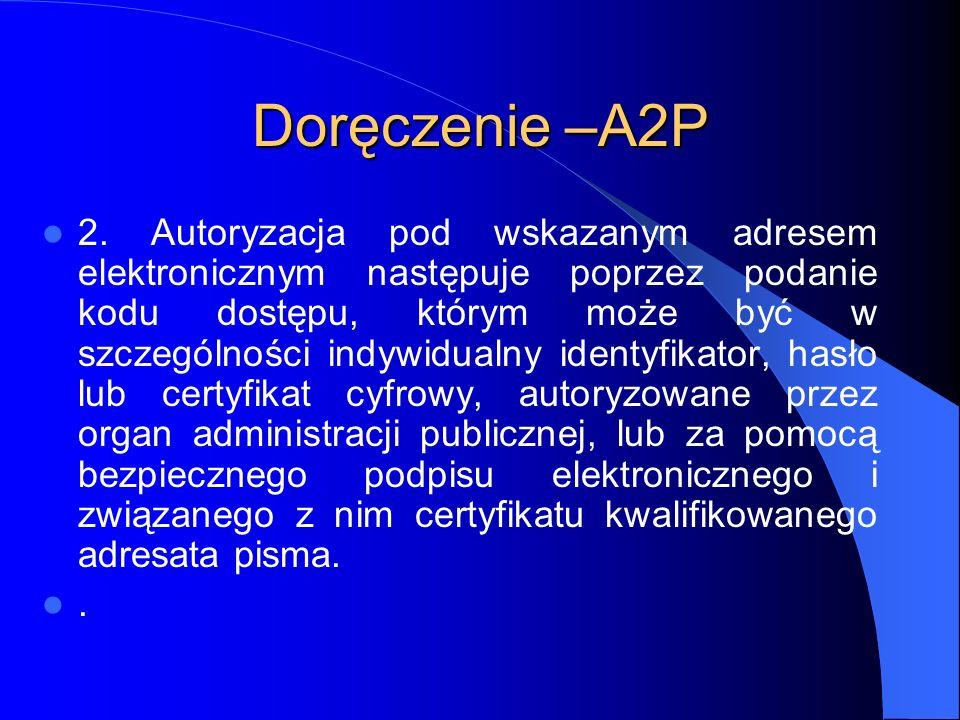 Doręczenie –A2P 2. Autoryzacja pod wskazanym adresem elektronicznym następuje poprzez podanie kodu dostępu, którym może być w szczególności indywidual