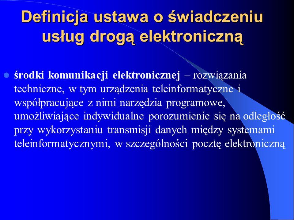 Definicja ustawa o świadczeniu usług drogą elektroniczną środki komunikacji elektronicznej – rozwiązania techniczne, w tym urządzenia teleinformatyczn