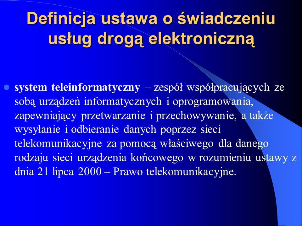 Definicja ustawa o świadczeniu usług drogą elektroniczną system teleinformatyczny – zespół współpracujących ze sobą urządzeń informatycznych i oprogra
