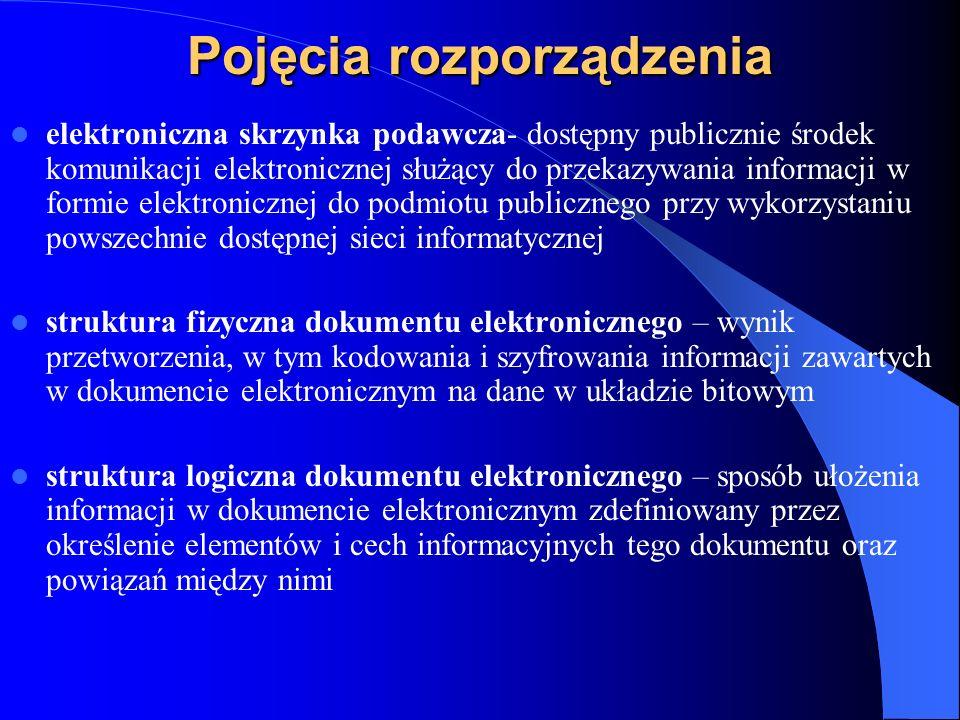 Pojęcia rozporządzenia elektroniczna skrzynka podawcza- dostępny publicznie środek komunikacji elektronicznej służący do przekazywania informacji w fo