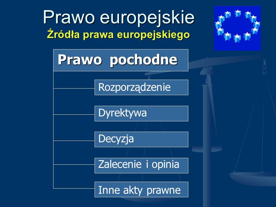 Prawo europejskie Źródła prawa europejskiego Prawo pochodne Prawo pochodne Rozporządzenie Dyrektywa Decyzja Zalecenie i opinia Inne akty prawne