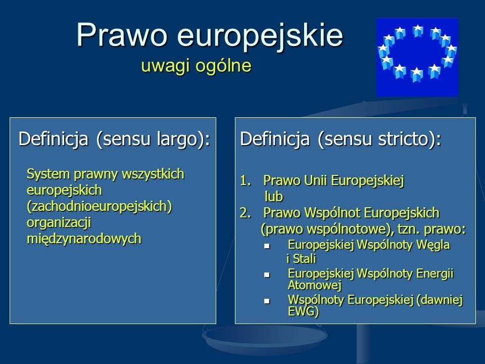 Prawo europejskie uwagi ogólne Prawo europejskie uwagi ogólne Definicja (sensu largo): System prawny wszystkich System prawny wszystkich europejskich