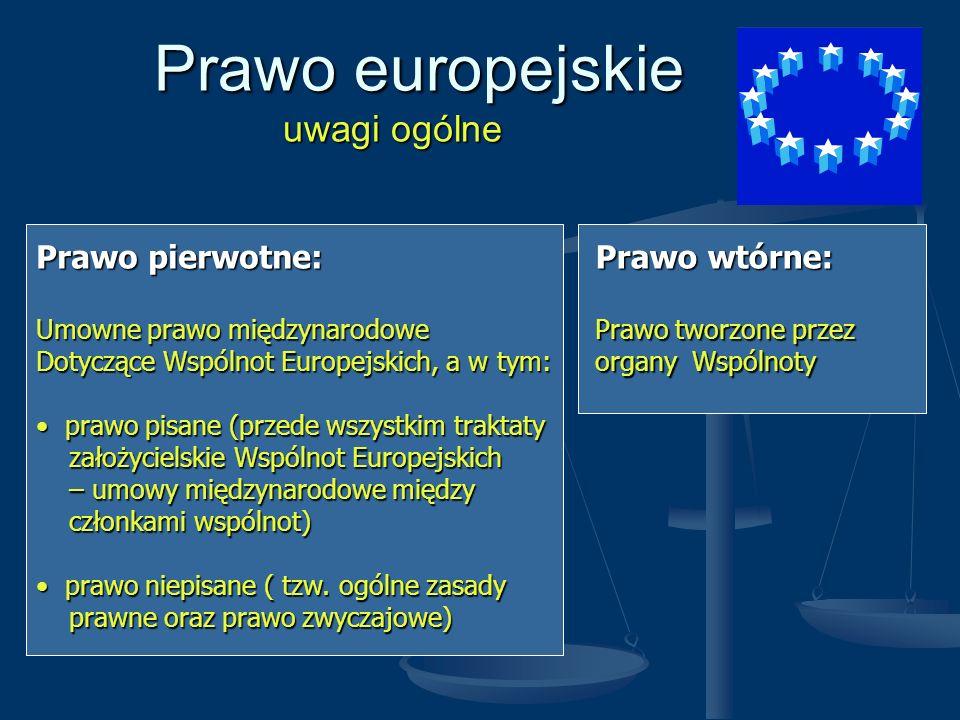 Prawo europejskie uwagi ogólne Prawo europejskie uwagi ogólne Prawo pierwotne: Umowne prawo międzynarodowe Dotyczące Wspólnot Europejskich, a w tym: p