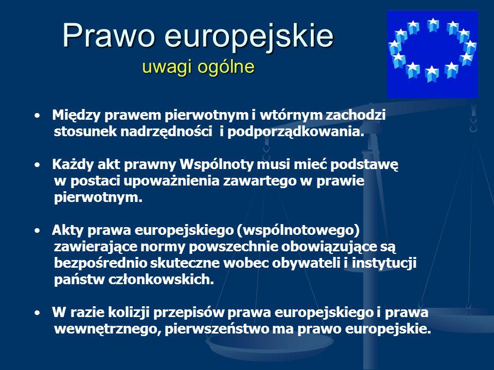 Prawo europejskie uwagi ogólne Między prawem pierwotnym i wtórnym zachodzi stosunek nadrzędności i podporządkowania. Każdy akt prawny Wspólnoty musi m