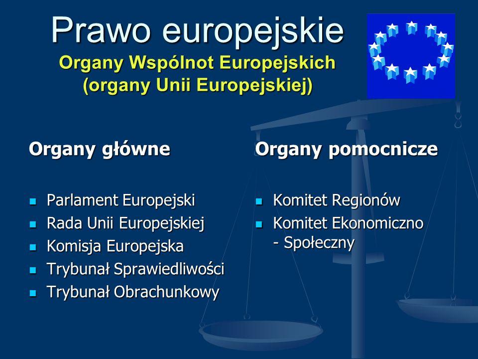 Prawo europejskie Organy Wspólnot Europejskich (organy Unii Europejskiej) Organy główne Parlament Europejski Parlament Europejski Rada Unii Europejski